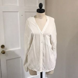 Brandy Melville White Loose Button Up Blouse